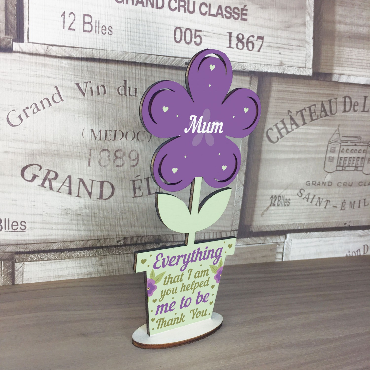 Thank You Gift Wood Flower Mum Birthday Mother Daughter