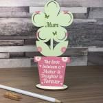 Mother Daughter Plaque Mum Birthday Gifts Wooden Flower Mum Gift