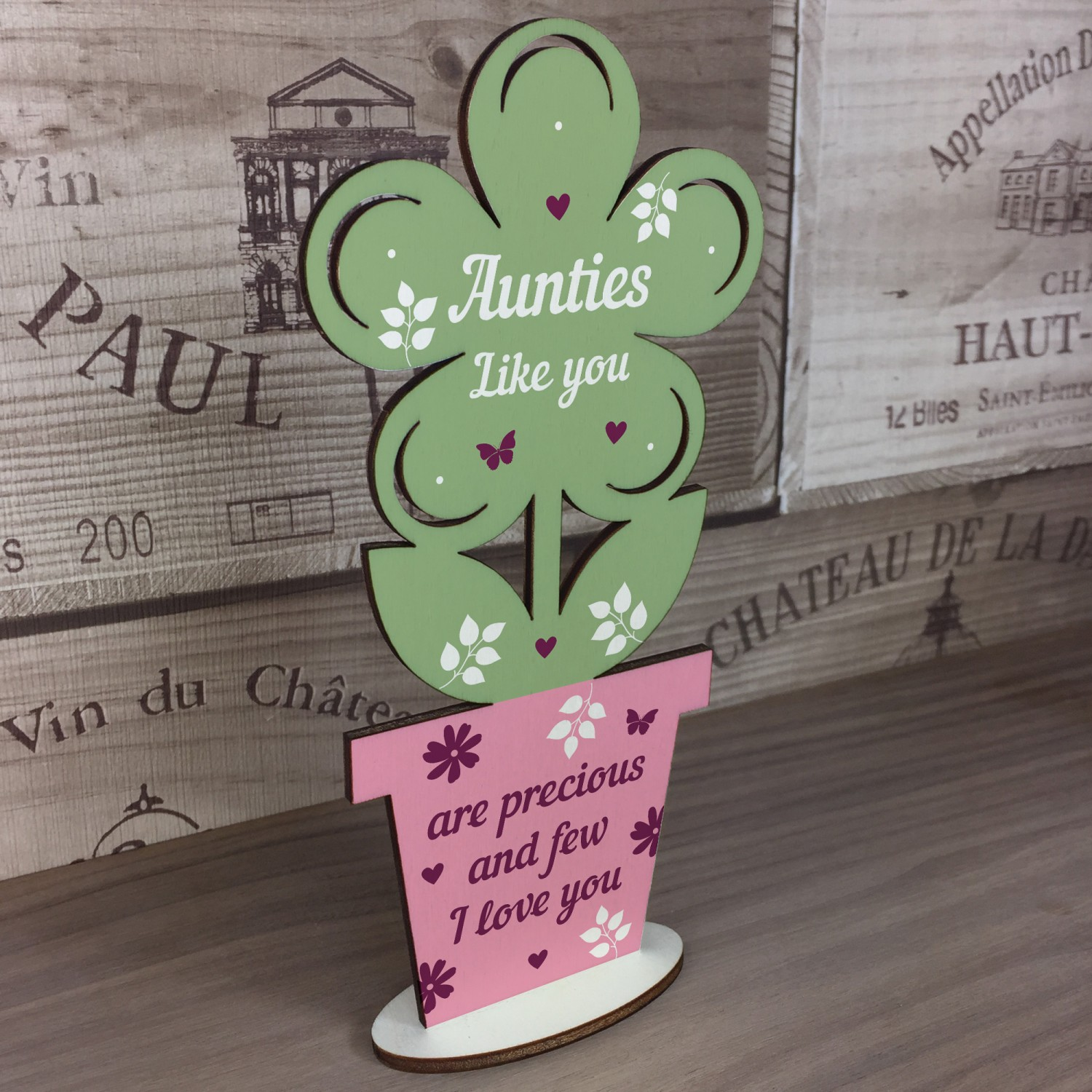 Auntie Gifts Wooden Standing Flower Birthday Gift Sister
