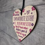 Funny Birthday Gift For Sister Wooden Heart Funny Sister Card