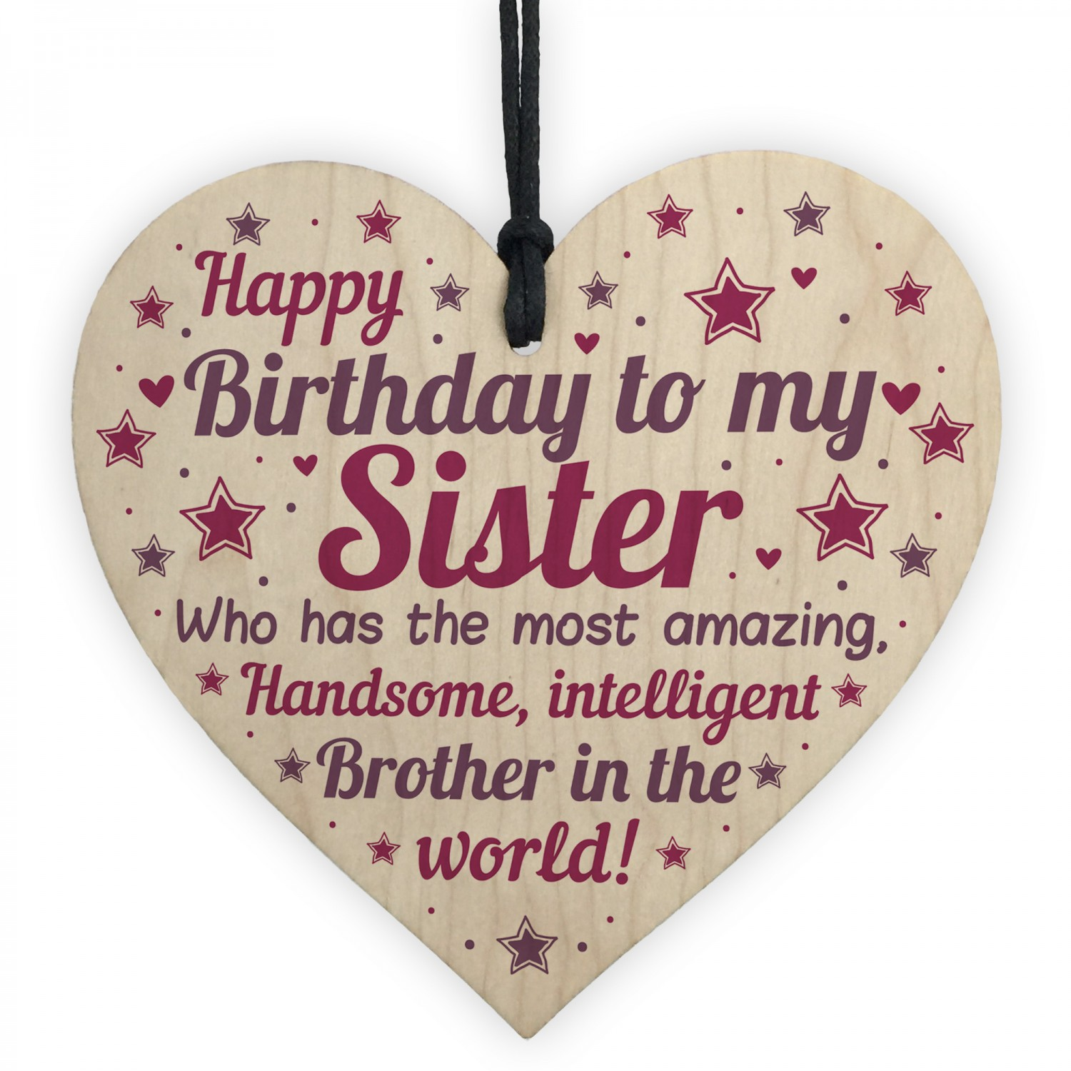 Funny Sister Birthday Gifts Card Wooden Heart
