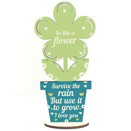 Stronger Inspirational Friendship Gift Wood Flower Birthday Gift