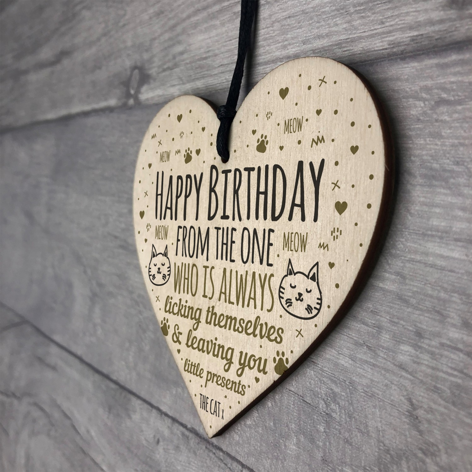 Funny Mum Dad Sister Brother Birthday Gifts Wood Heart Cat Gifts