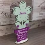 Auntie Birthday Christmas Gift Wooden Flower Auntie Niece Nephew