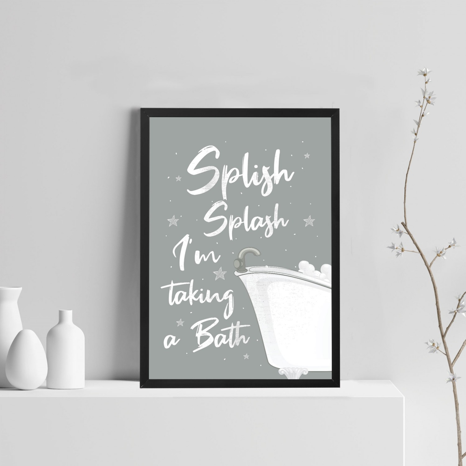 Bathroom Prints Framed Bathroom Sign Bathroom Decor Grey