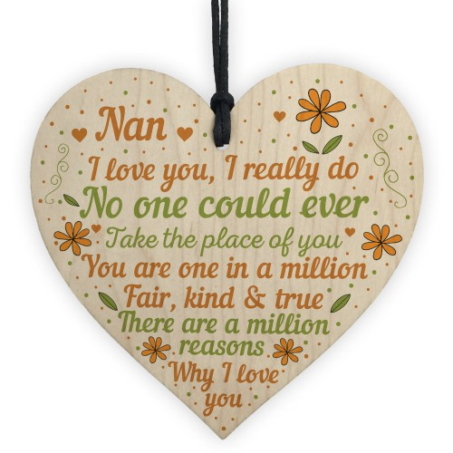 Nan Plaque Heart Nan Birthday Christmas Gifts From Grandchildren