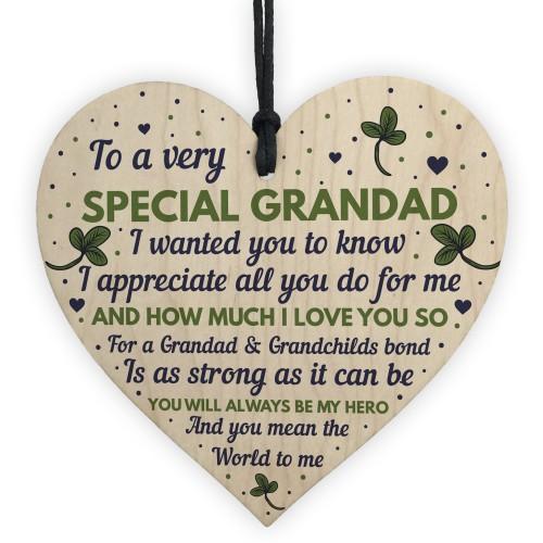 Thank You Gifts For Grandad Wood Heart Grandad Birthday Gift