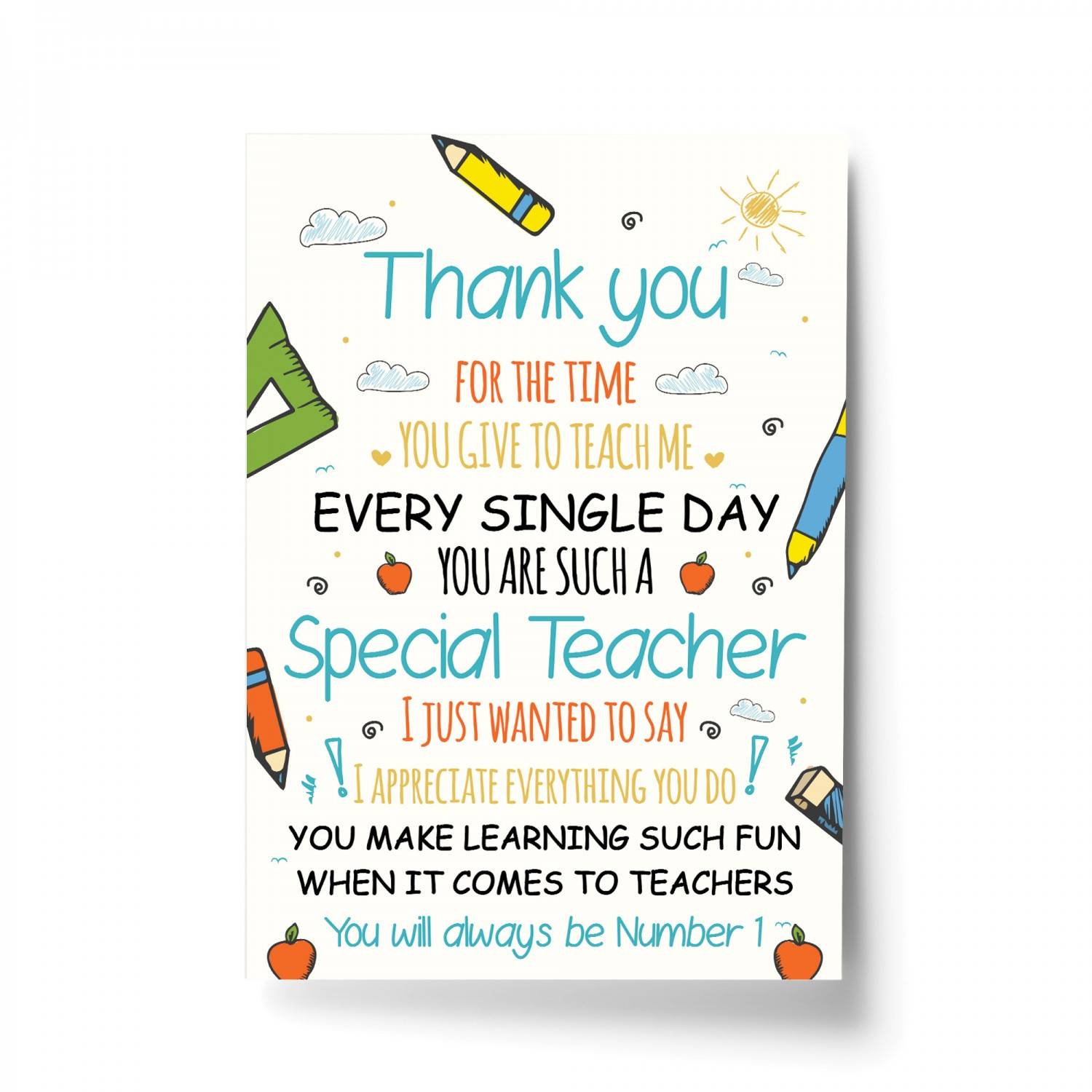 Leaving Gift For Teacher Teaching Assistant Thank You Poem