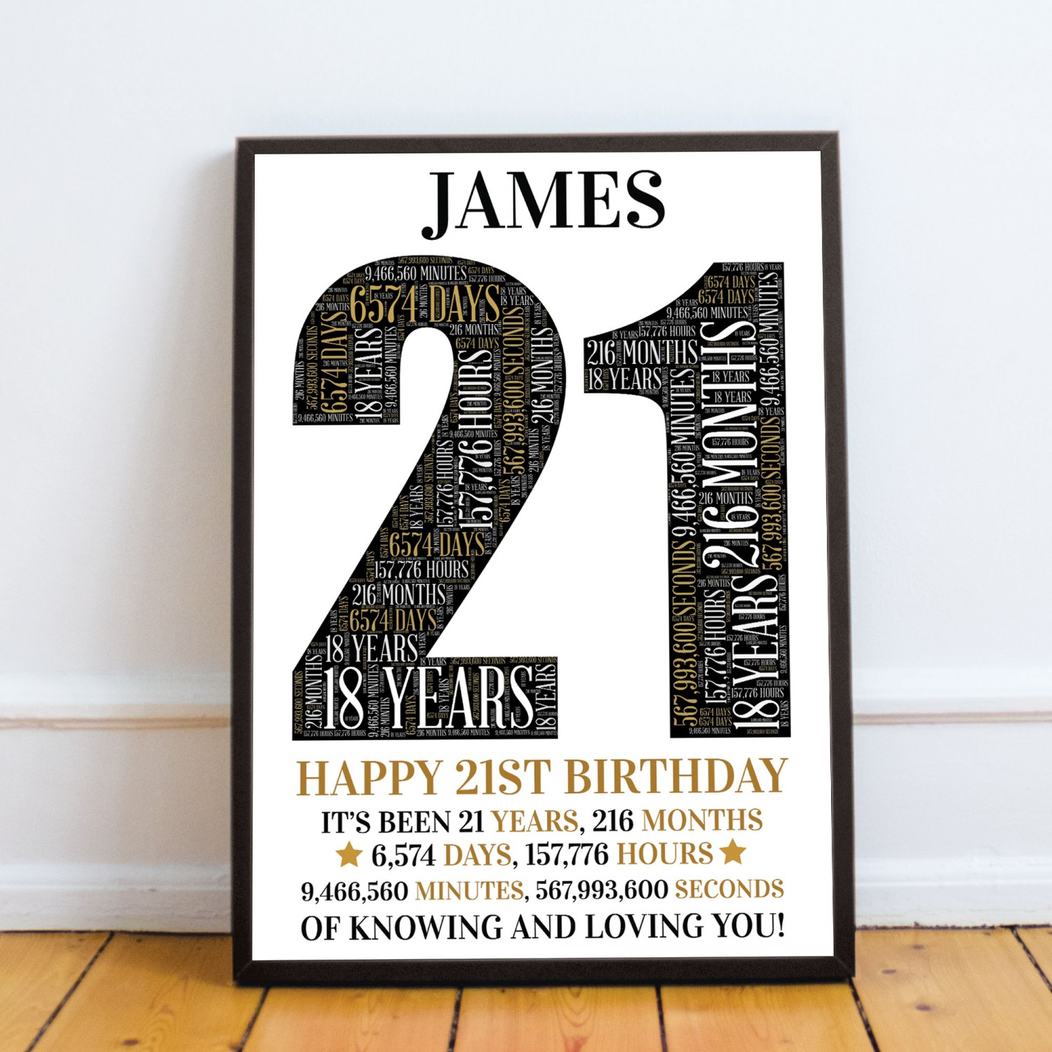21st Birthday Gift Daughter Son Personalised Word Art Print