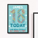 18th Birthday Gift Daughter Son Personalised Word Art Print