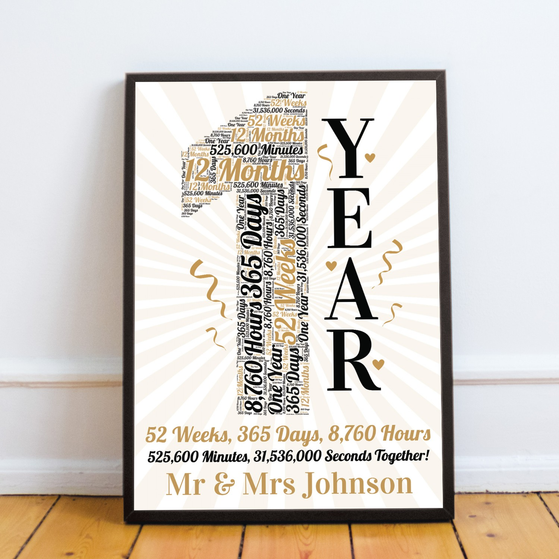 Personalised Word Art 1st Wedding Anniversary Gift Husband Wife