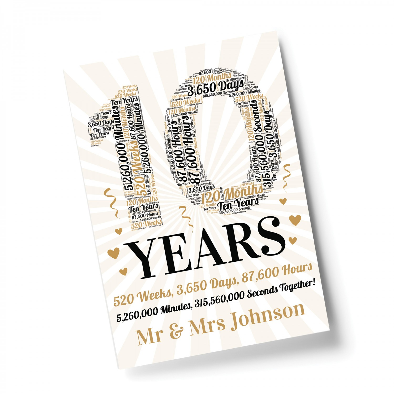 10th Wedding Anniversary Gift For Husband: Personalised 10th Wedding Anniversary Word Art Gift For