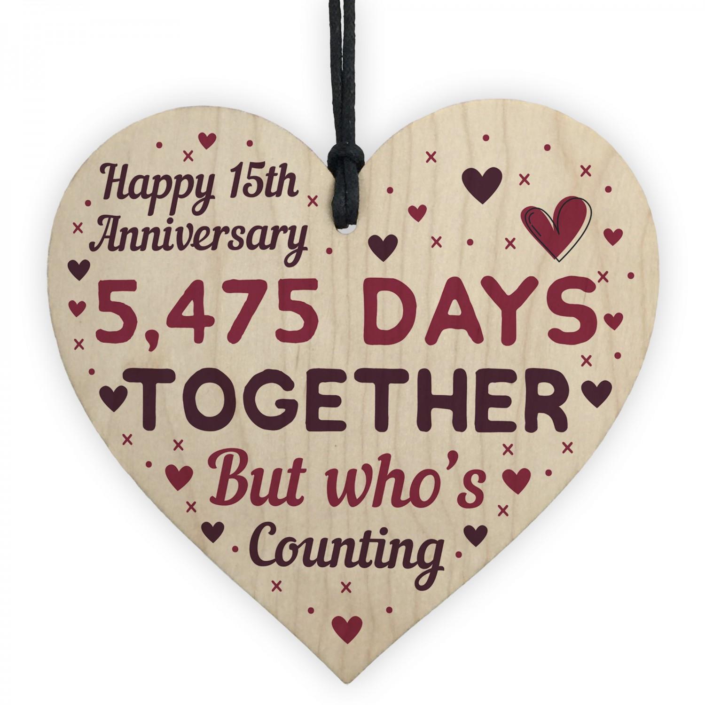 15th Wedding Anniversary.Handmade Wood Heart Gift To Celebrate 15th Wedding Anniversary