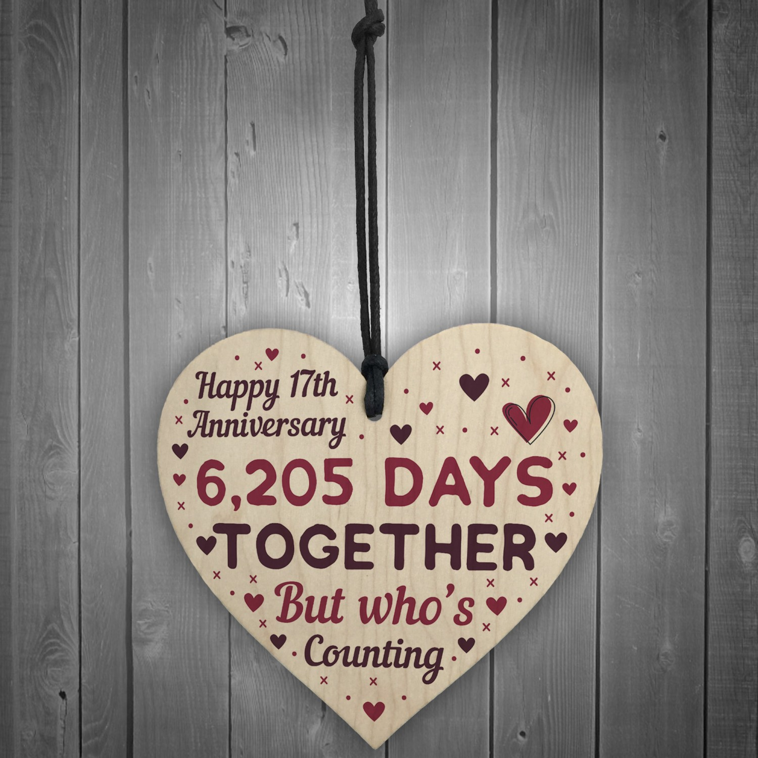 17th Anniversary Gift For Wife: Handmade Wood Heart Gift To Celebrate 17th Wedding Anniversary