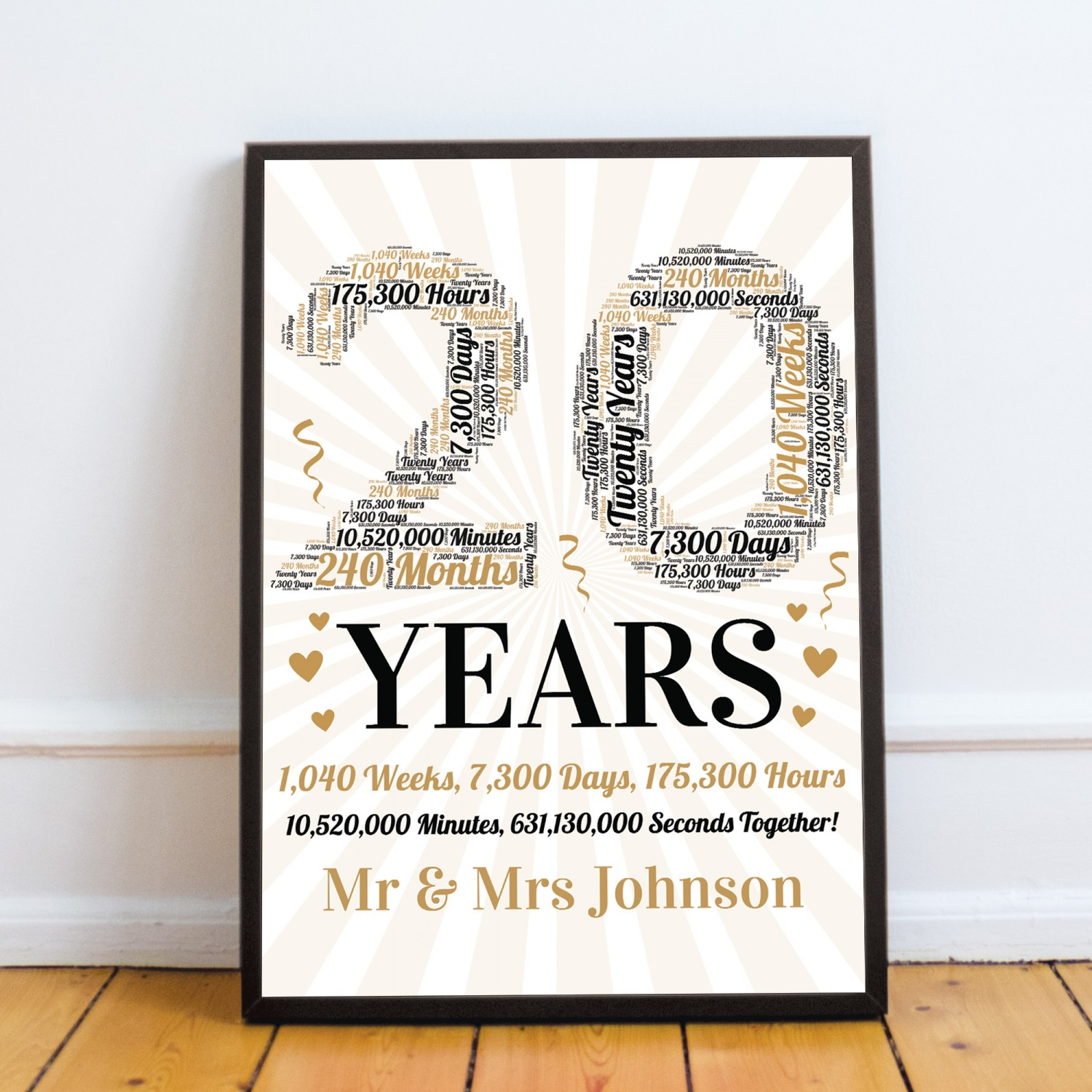Personalised Word Art 9th Wedding Anniversary Gift For Husband
