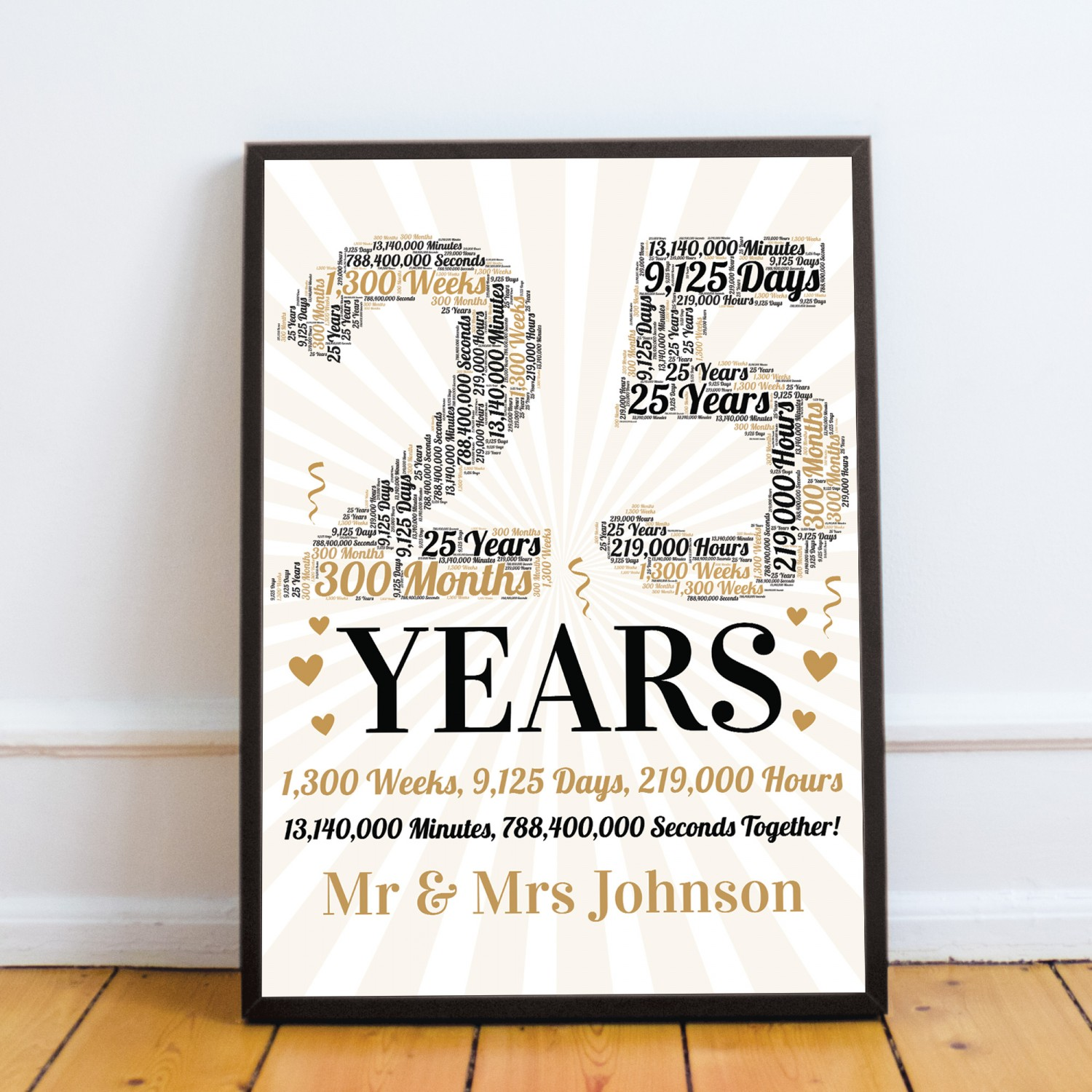 25th Wedding Anniversary Gifts.Personalised Word Art 25th Wedding Anniversary Gift Husband Wife