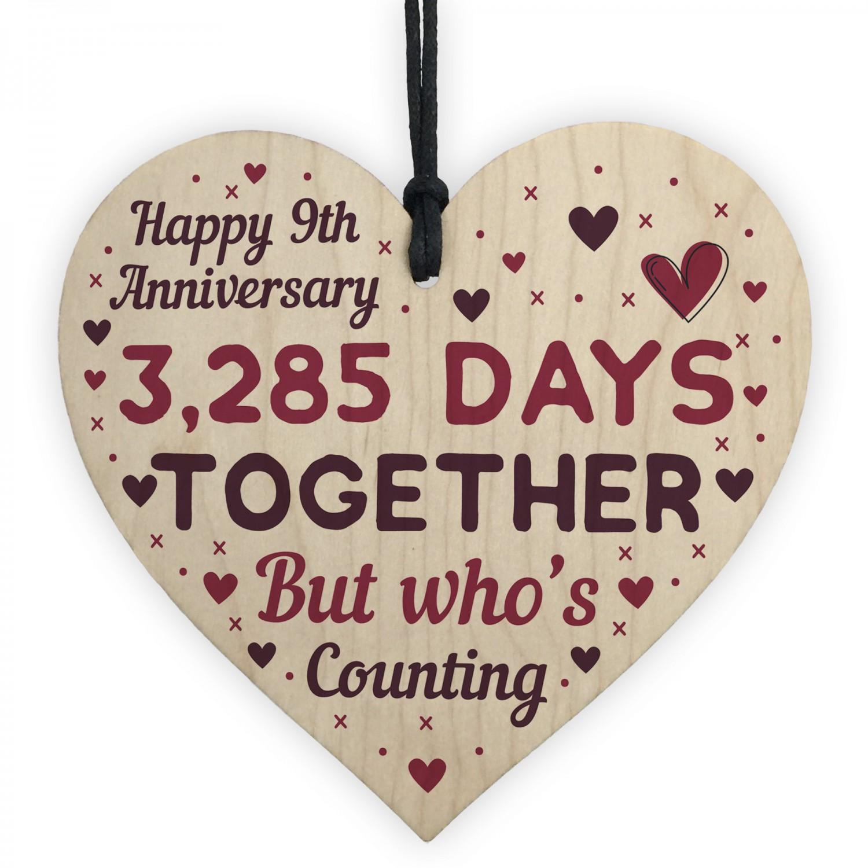 Handmade Wood Heart Gift To Celebrate 9th Wedding Anniversary