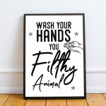 Filthy Animal Funny Bathroom Quote Print Bathroom Sign Wall Art