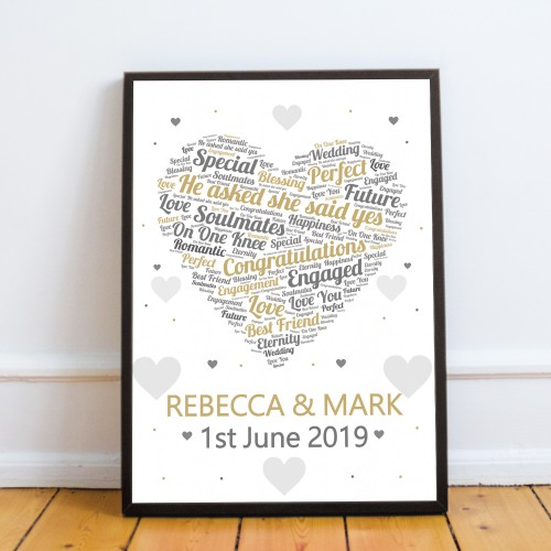 PERSONALISED Engagement Gifts Framed Print Engagement Presents