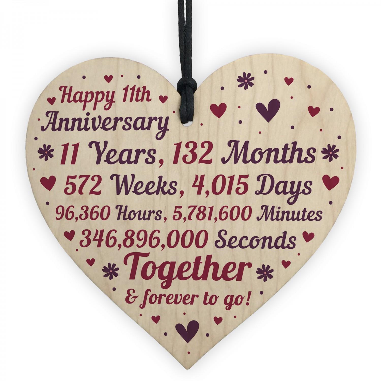 Anniversary Wooden Heart To Celebrate 11th Wedding Anniversary