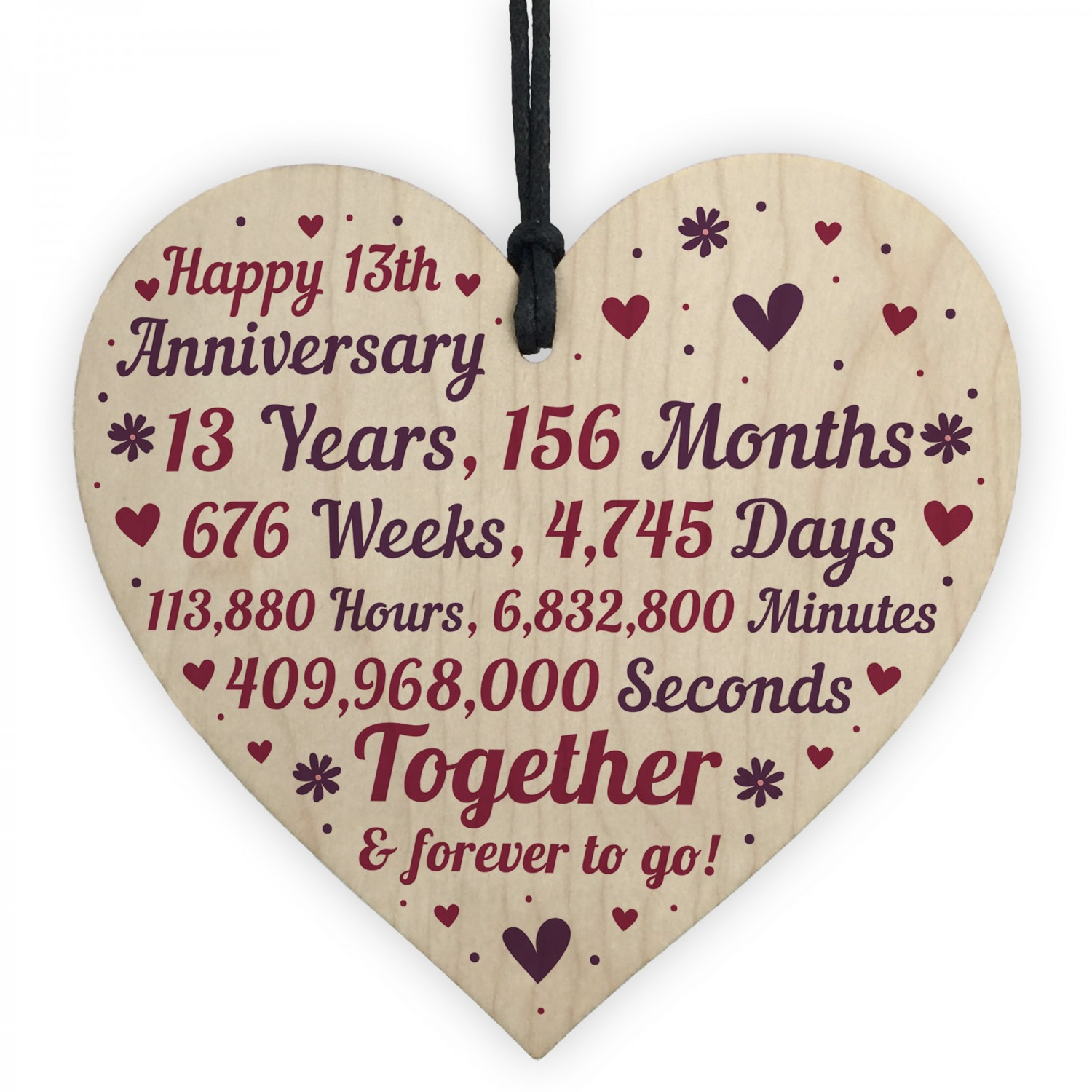 13th Wedding Anniversary Gift For Her: Anniversary Wooden Heart To Celebrate 13th Wedding Anniversary