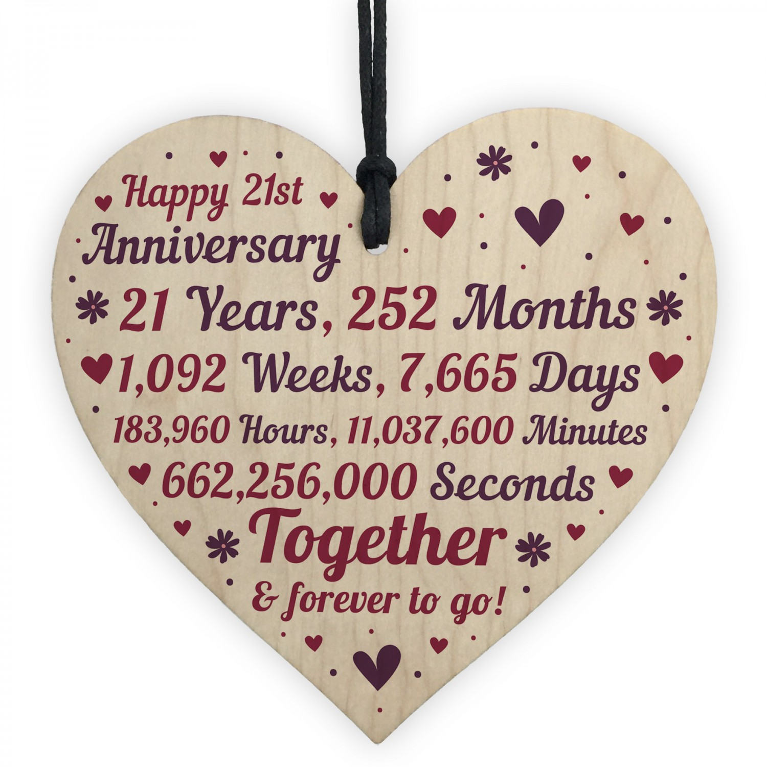 21st Wedding Anniversary.Anniversary Wooden Heart To Celebrate 21st Wedding Anniversary