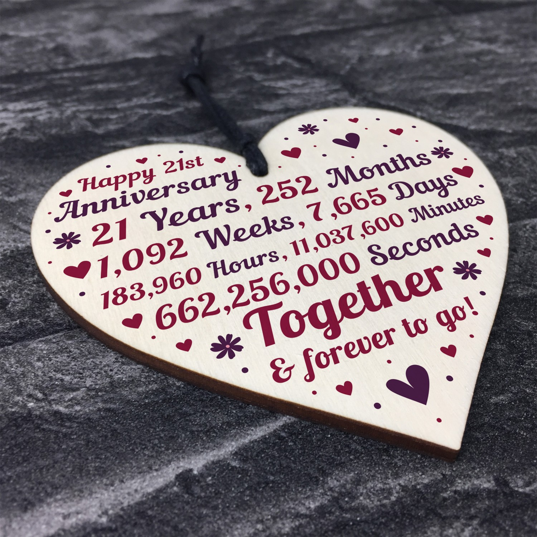 Anniversary Wooden Heart To Celebrate 21st Wedding Anniversary