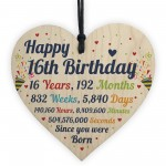 16th Birthday Gifts 16th Card Wood Heart Gift For Son Daughter