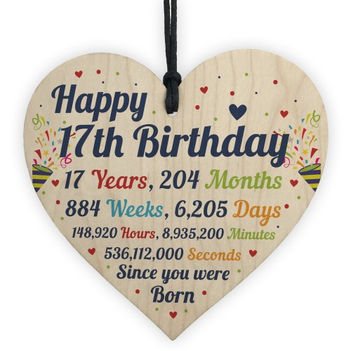 17th Birthday Gifts 17th Card Wood Heart Gift For Son Daughter