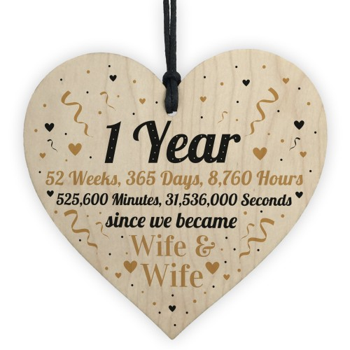 1st Wedding Anniversary Gift For Wife Heart Same Sex Present