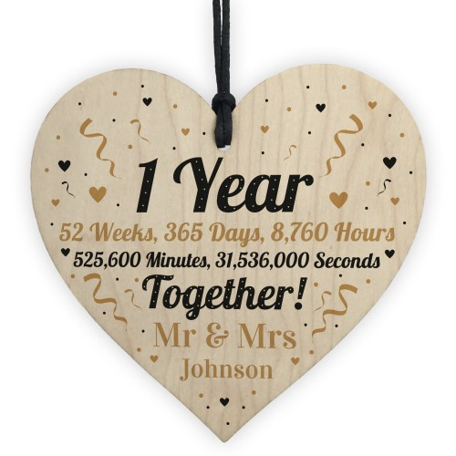 1st Anniversary Gift Personalised Wooden Heart Anniversary Gift