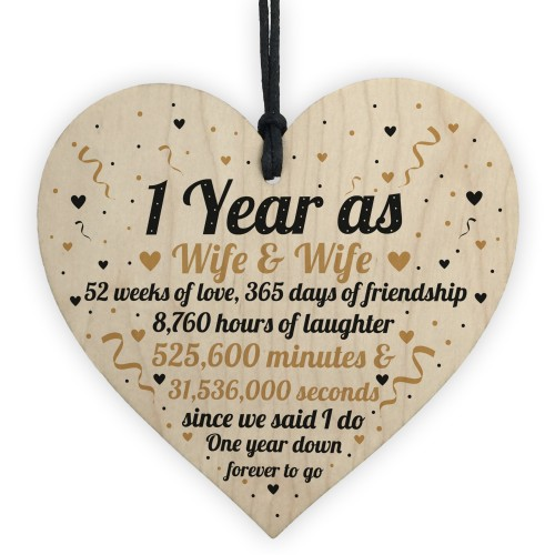 1st Wedding Anniversary Gift For Wife And Wife Wooden Heart