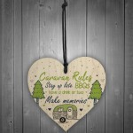 Caravan Rules Novelty Hanging Wooden Heart Caravan Sign Friend