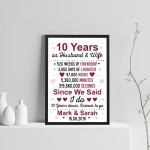 10th Anniversary Gift Personalised 10th Anniversary Husband Wife