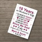 10th Wedding Anniversary Gift Wife Husband Personalised