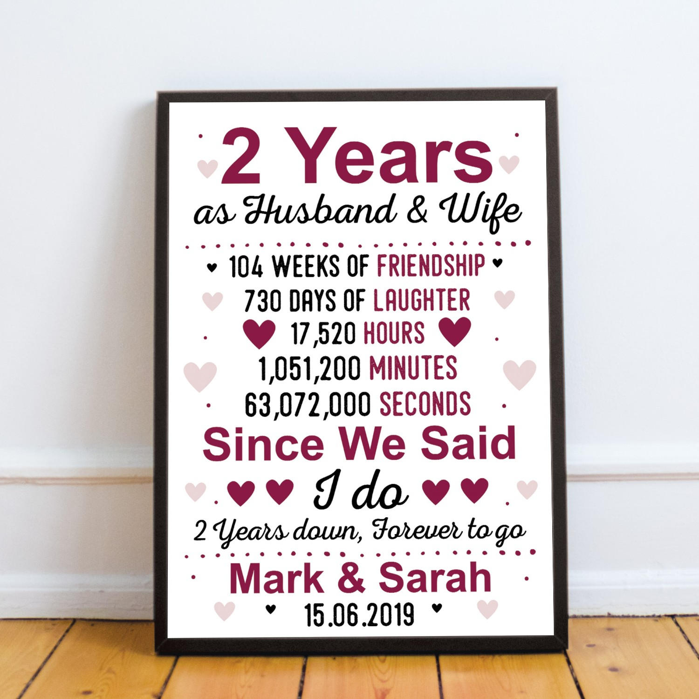 2nd Wedding Anniversary Gift.2nd Anniversary Gift Personalised Second Wedding Anniversary