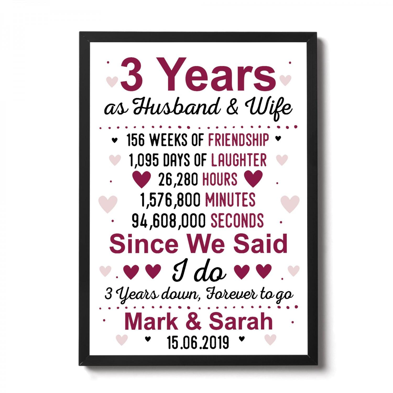 Third Wedding Anniversary.3rd Anniversary Gift Personalised Third Wedding Anniversary Gift