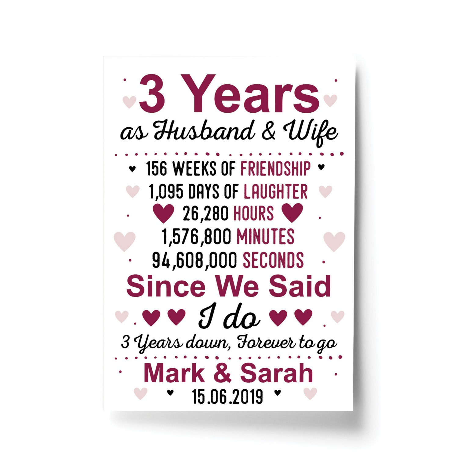 3rd Wedding Anniversary Gift Husband Wife Personalised Gift
