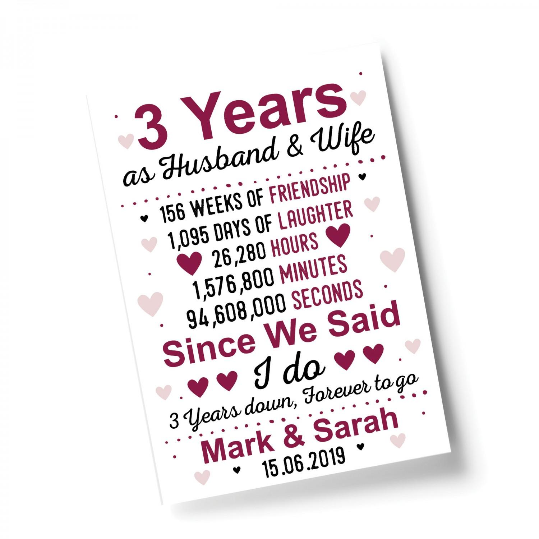 3rd Wedding Anniversary Gift Husband Wife Personalised Gift