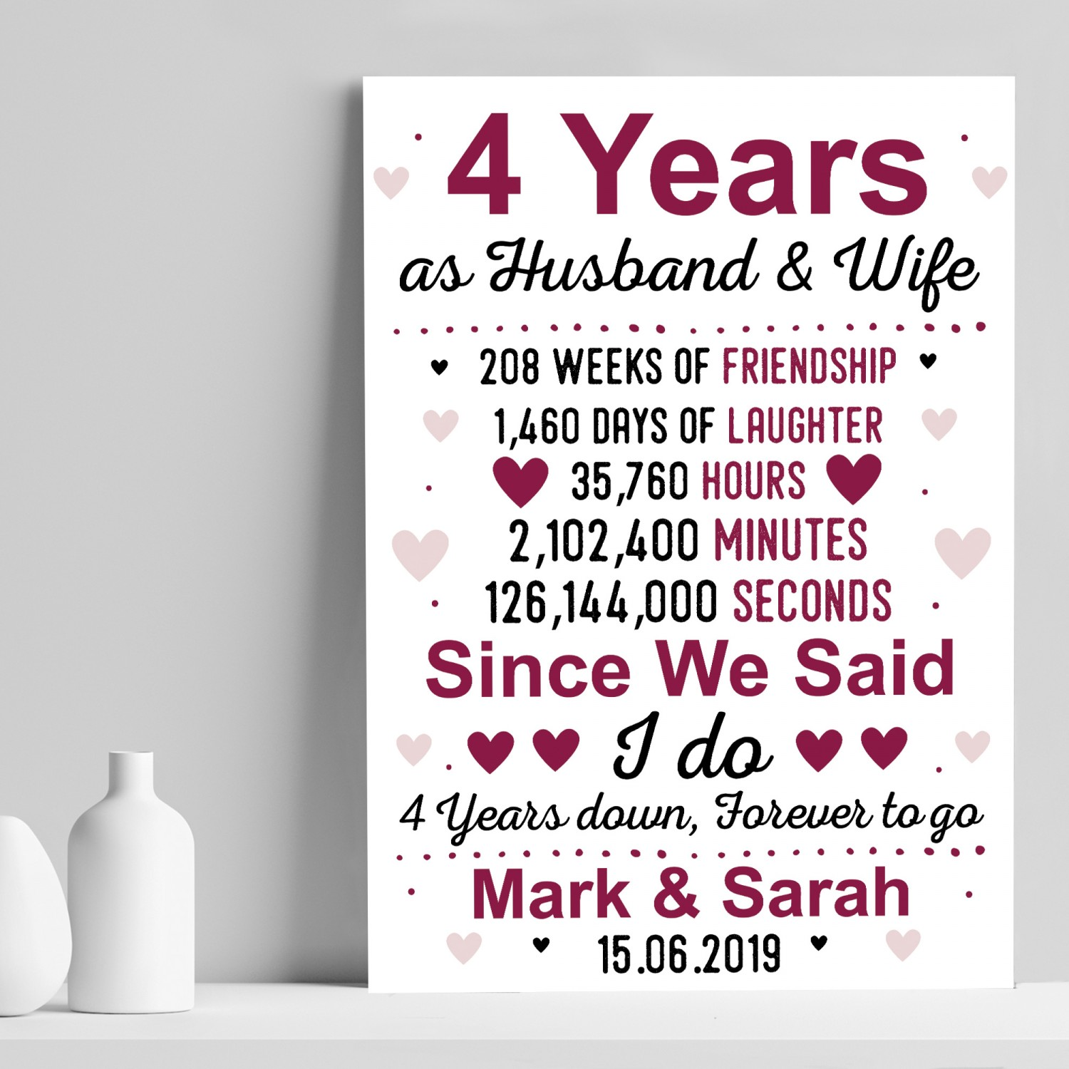 4th Wedding Anniversary Gift Husband Wife Personalised Gifts