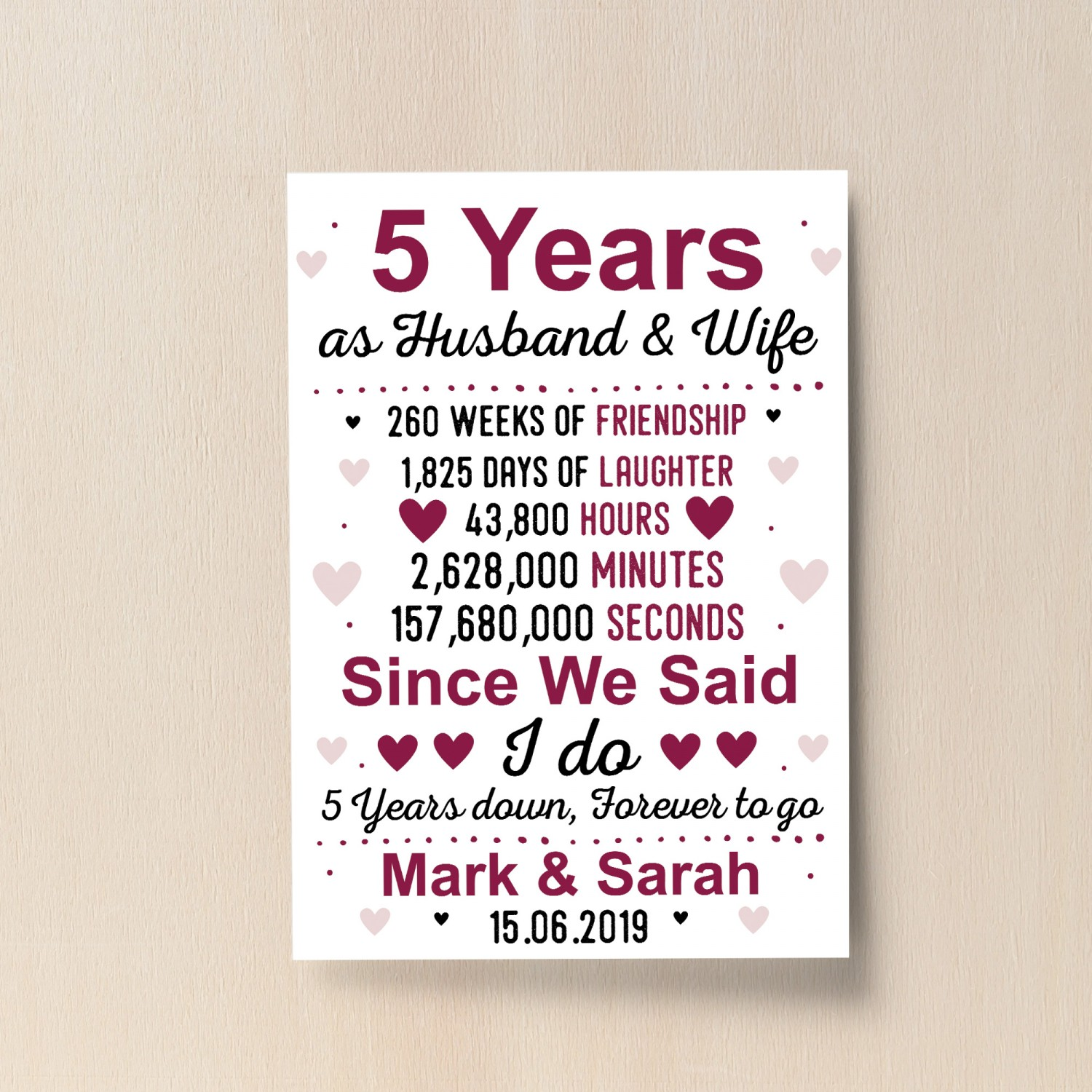 Wedding Anniversary Gifts For Her: 5th Wedding Anniversary Gift Wife Husband Personalised Present