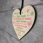 Thank You Gift For Mentor Childminder Wood Heart Teacher Gift