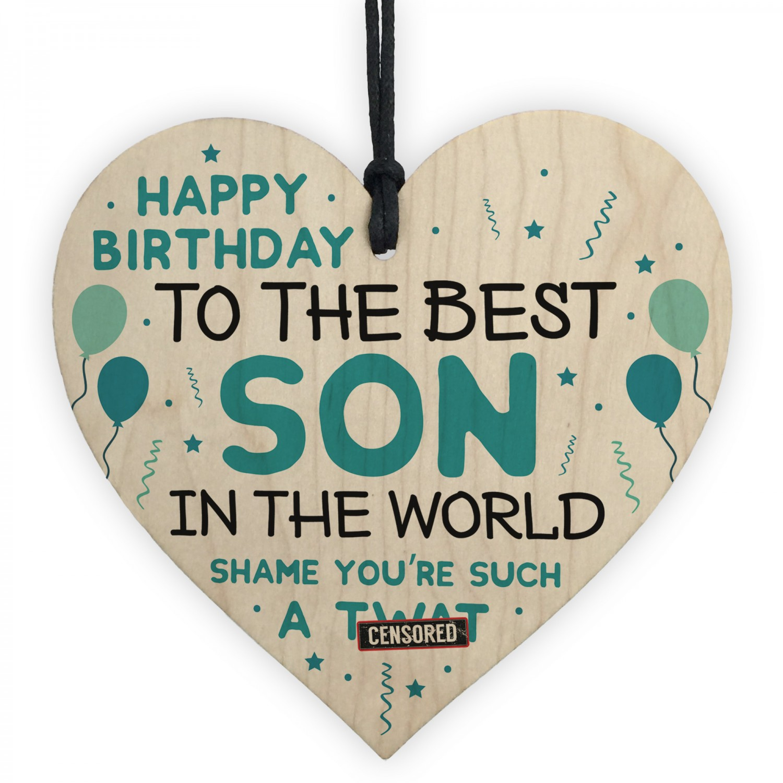 Fantastic Funny Happy Birthday Gift For Son Wood Heart Son Birthday Card Funny Birthday Cards Online Alyptdamsfinfo