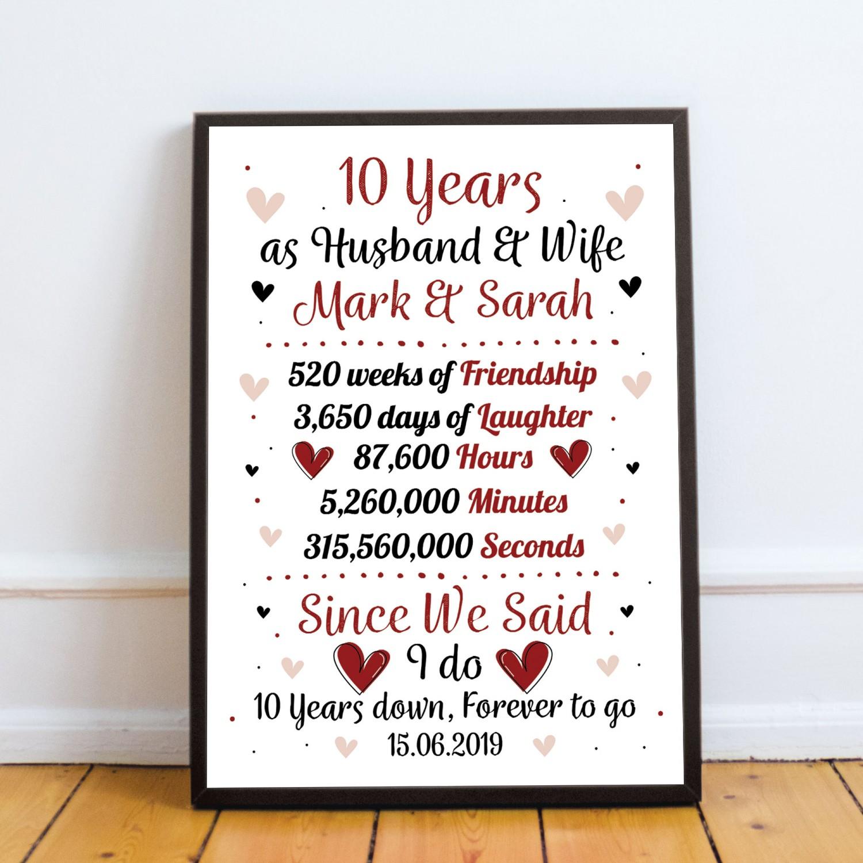 Personalised Wedding Gift 10th Year Anniversary Husband Wife