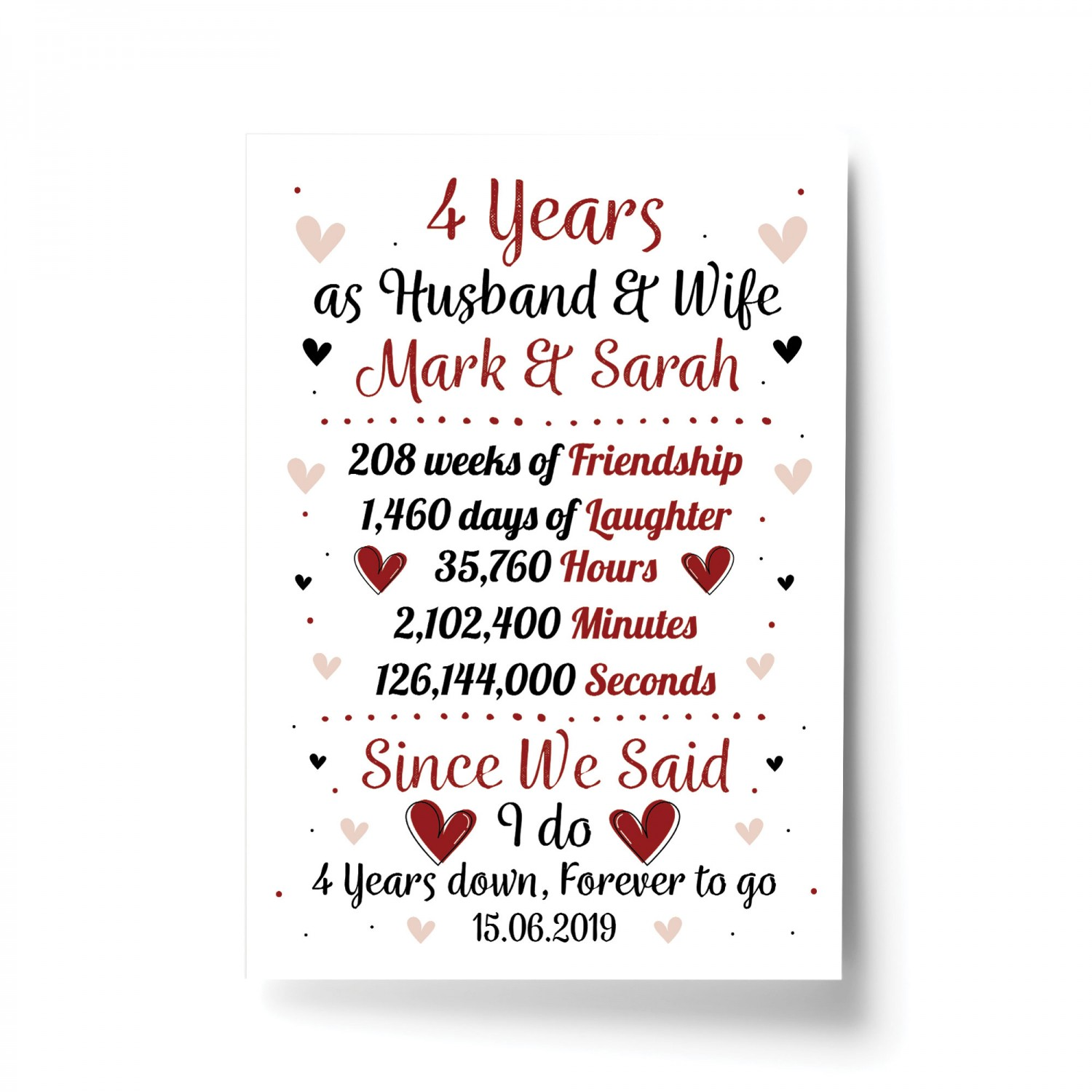 Personalised Wedding Print 4th Year Anniversary Husband Wife