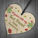 10th Wedding Anniversary Gift For Husband Wife Wooden Heart Gift