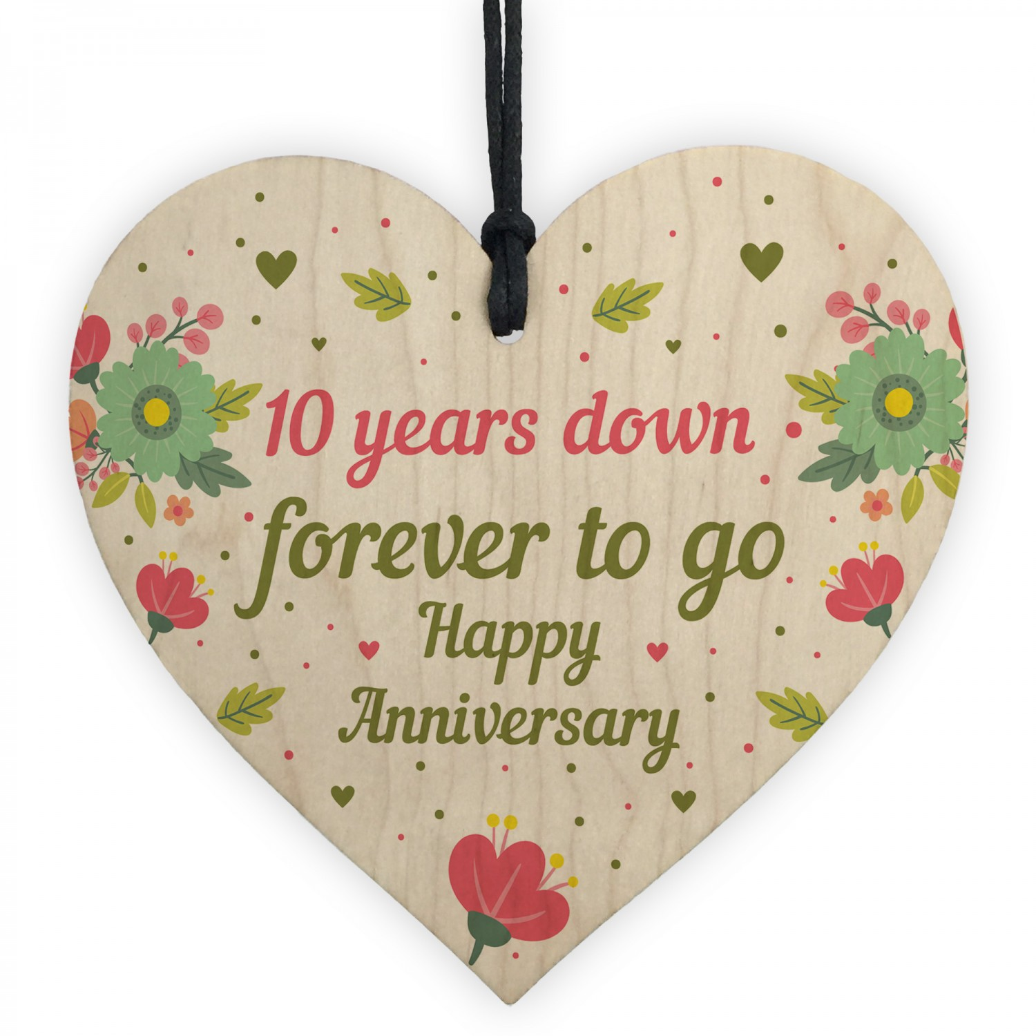 Funny 10th Wedding Anniversary Gift Wooden Heart Husband Wife