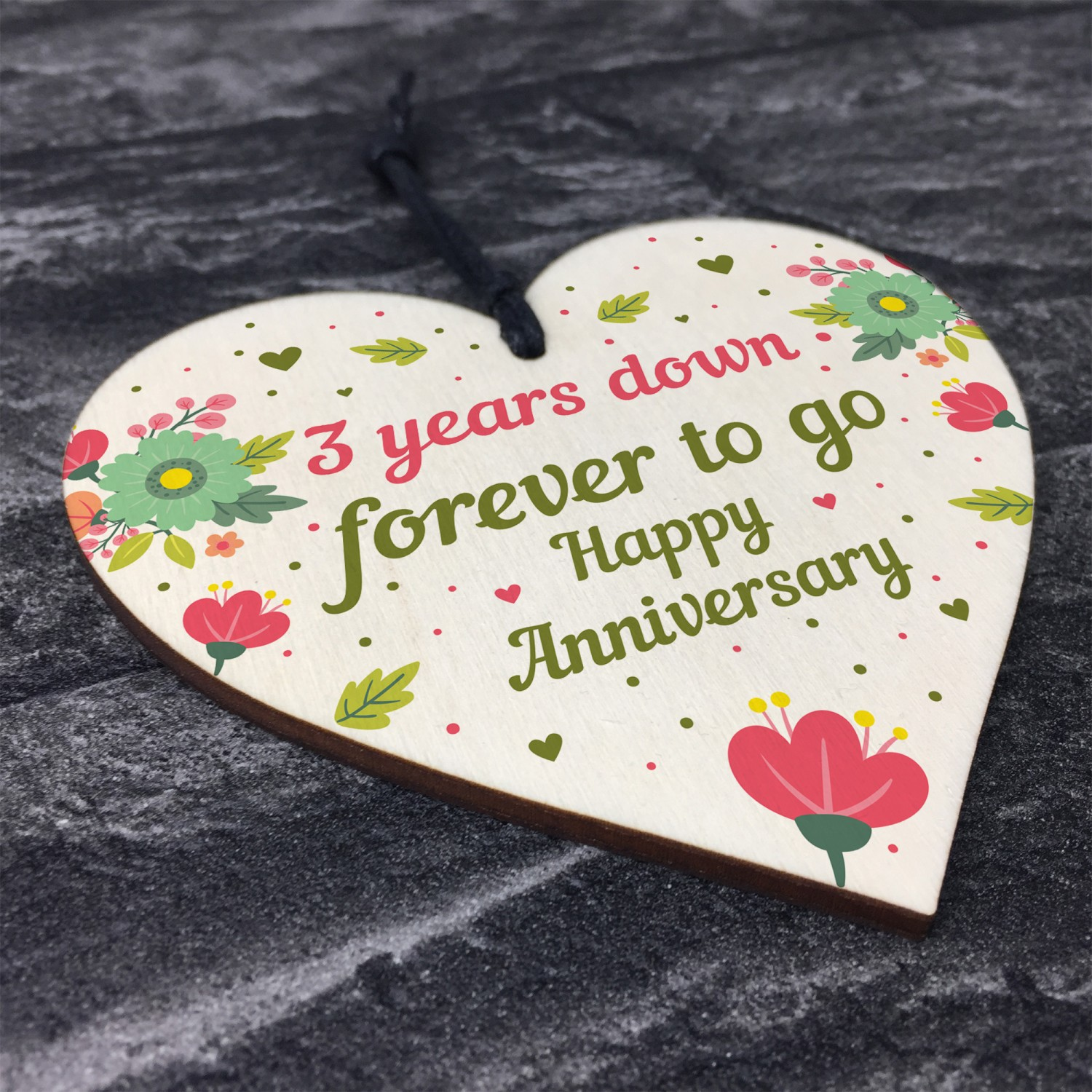Funny 3rd Wedding Anniversary Gift Wooden Heart Husband Wife