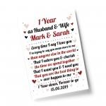 1st Wedding Anniversary Gift For Husband or Wife Print Keepsake