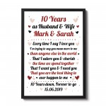 10th Wedding Anniversary Gift For Husband or Wife Framed Print